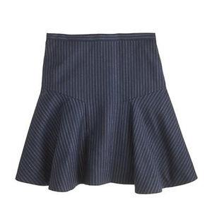 J Crew M 10 Navy skirt Wool Blend Pinstripe Fluted